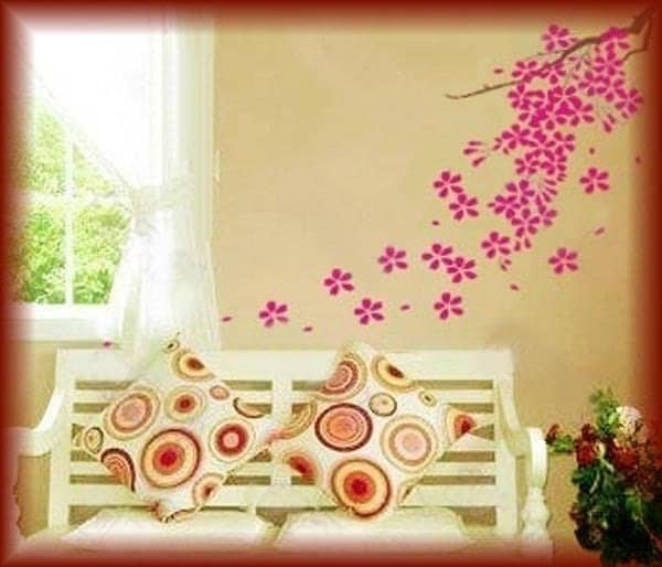 Wall Art vinyl tattoos Decals Stickers---Falling Flowers. From walldecors