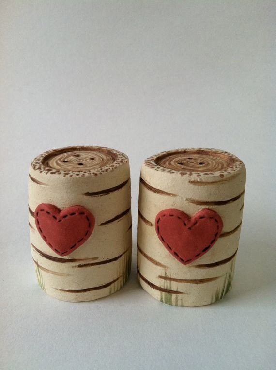 Birch Wood and Heart Salt and Pepper Shakers