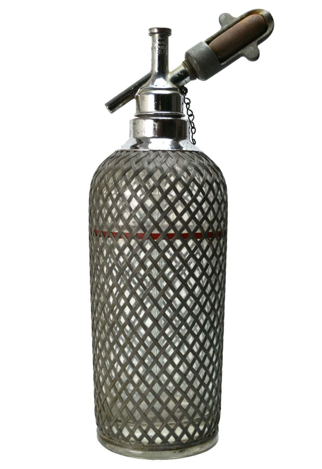 Art Deco Soda Syphon Glass Bottle with Chrome Tap by Sparklets, Vintage English, circa 1930