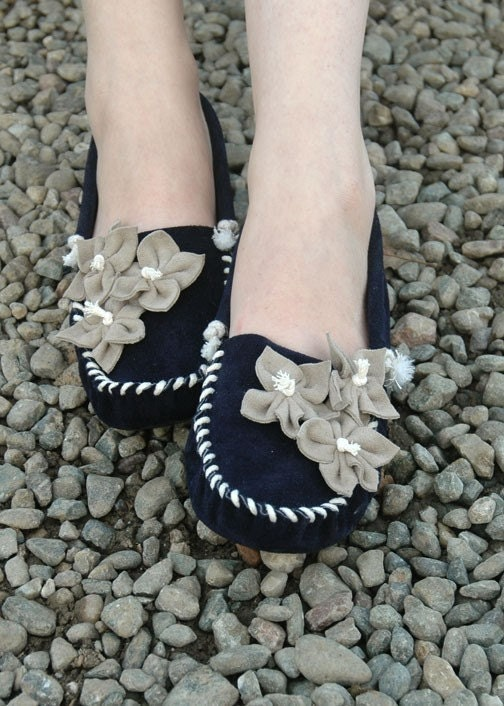 Tiger Lily Moccasin Navy and Stone - Women's Sizes 5-11