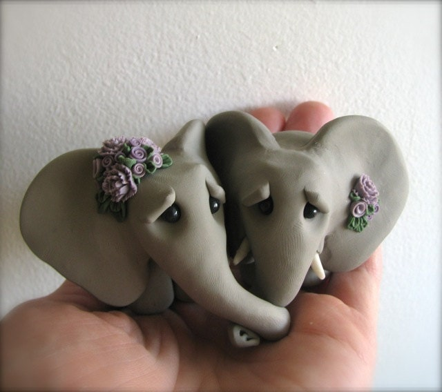Elephant Love Wedding Cake Topper