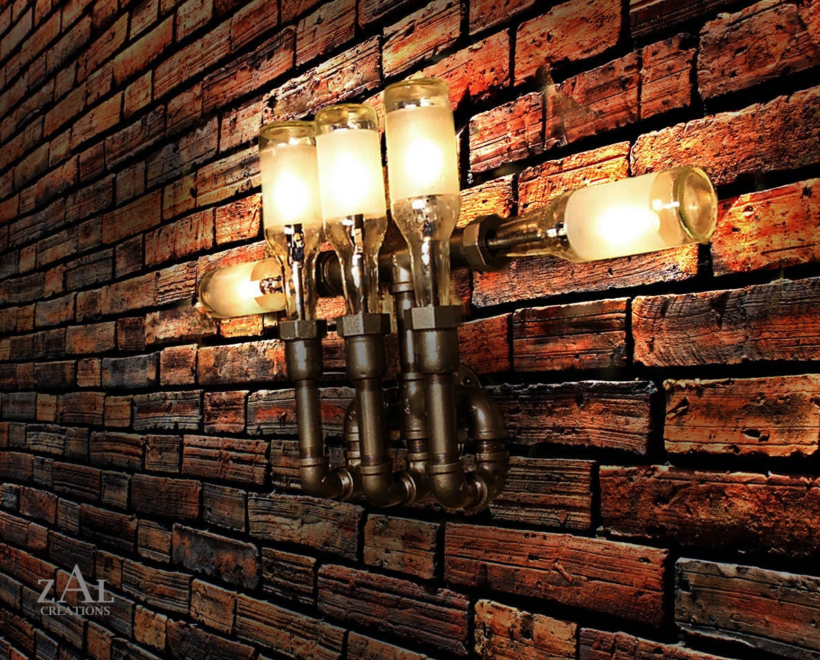 plumbing pipe fittings wall light lighting fixture sconce. Black Bedroom Furniture Sets. Home Design Ideas