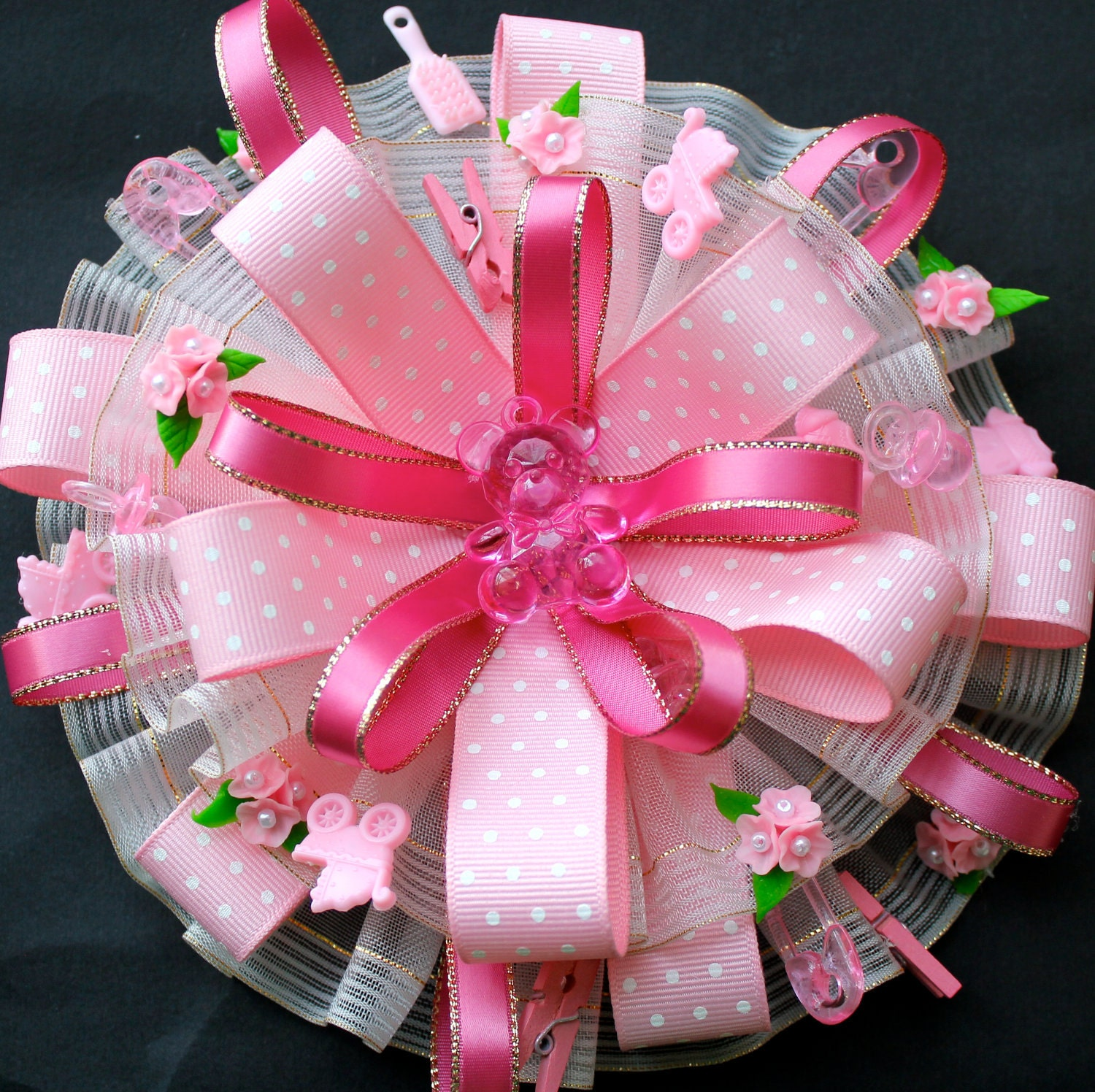 pink baby shower corsage for mom to be baby by favorsboutique