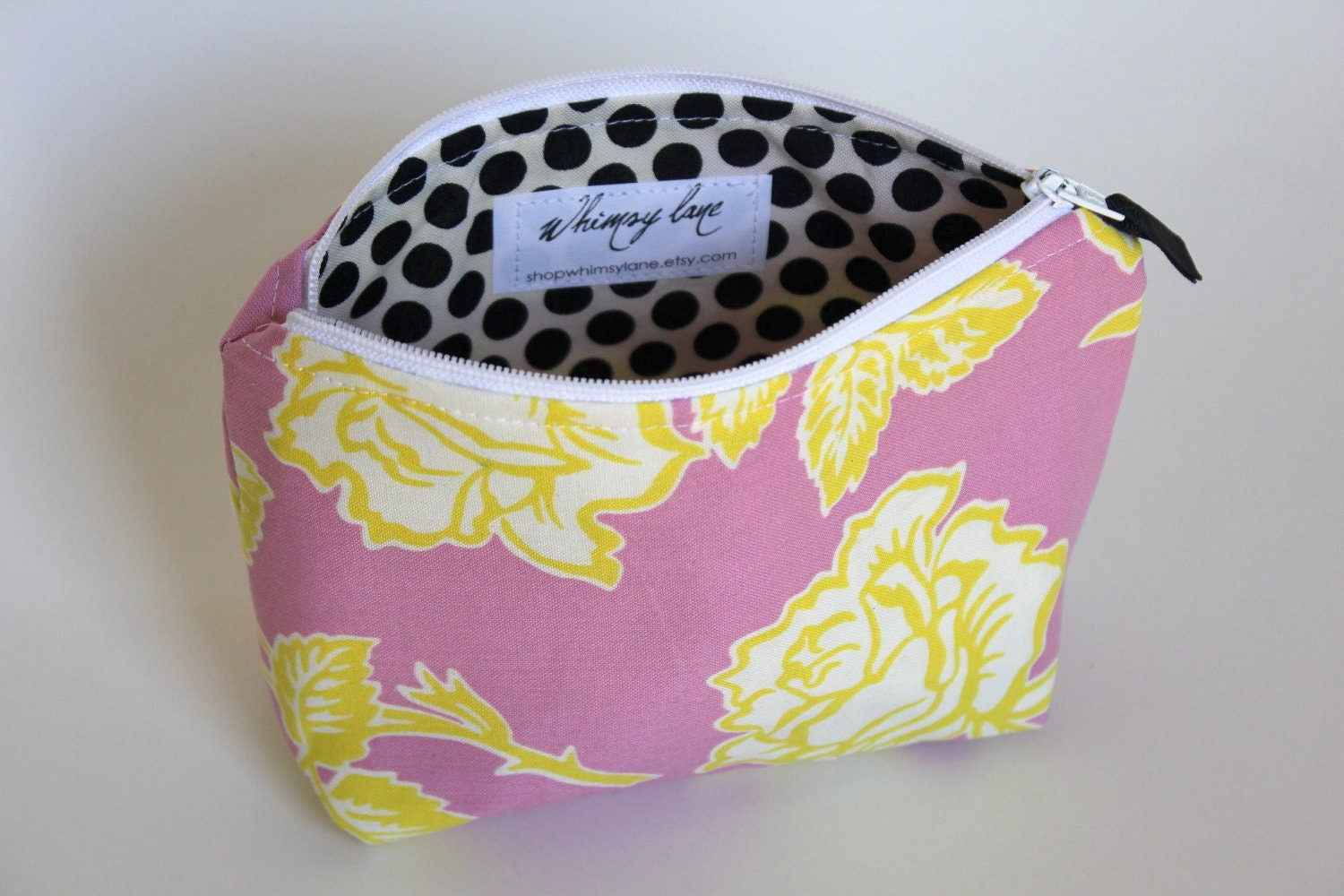 Zippered Pouch- polkadot garden