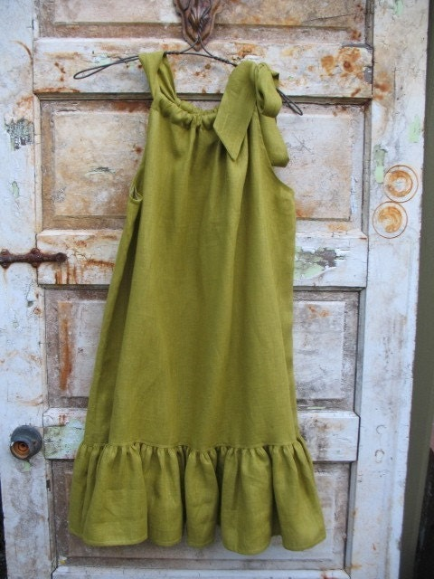 Storyville Shift...linen ruffle shift in sweet olive from down de bayou...available in s.m.l.plus