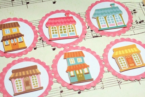 Set of 6 Cute Home Tags- Perfect for Card-Making, Scrapbooking, Altered Art and more