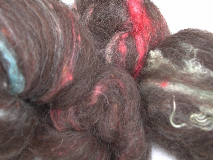 KITCHEN SINK BATTZ (tm) icelandic wool colorful mohair locks glitz 4.8 oz