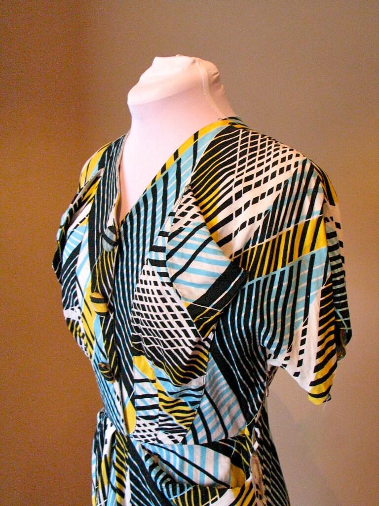 Vintage Late 1940s 'Geometrical' Ladies Dress