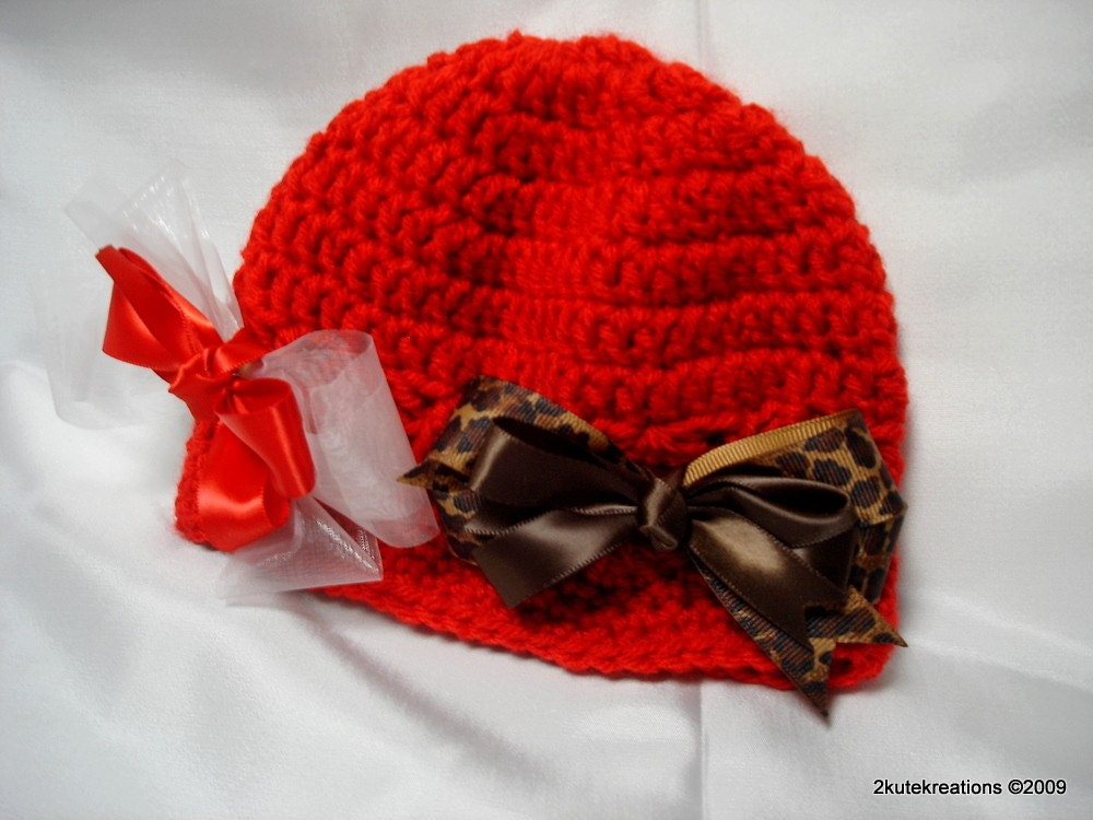Red Crochet Beanie with Two Bows