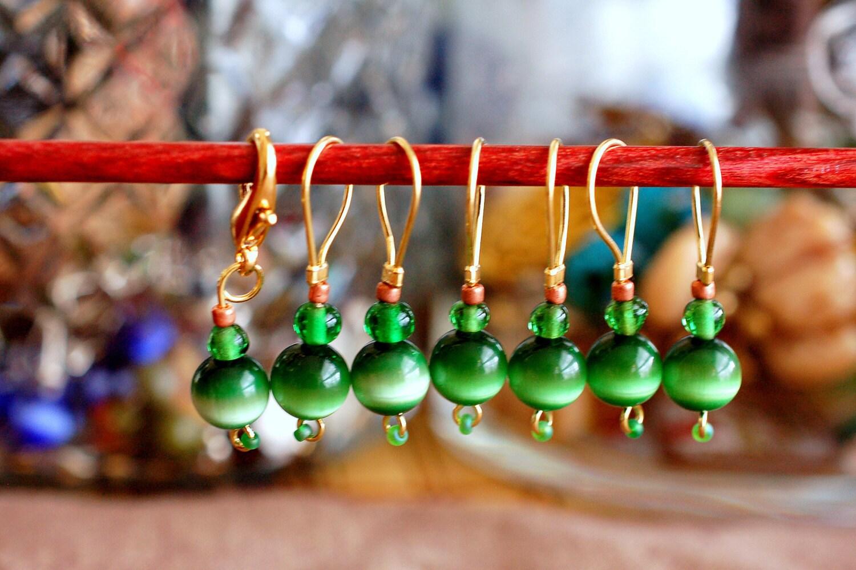 Green Cat's Eye Stitch Markers - LittleKnittyBird