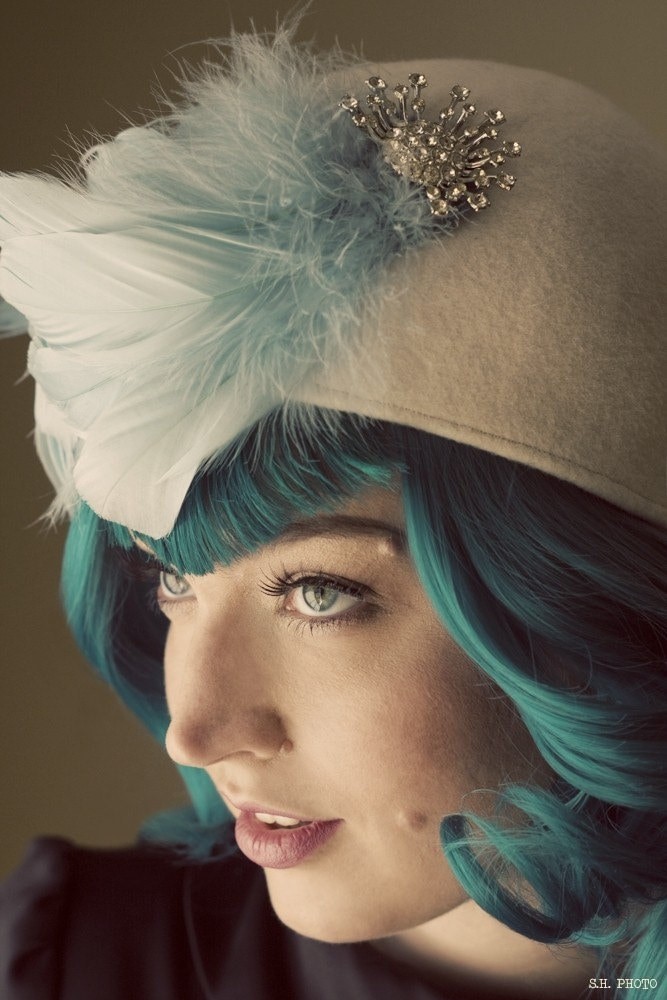 Darbyshire Feathered Ivory Cloche