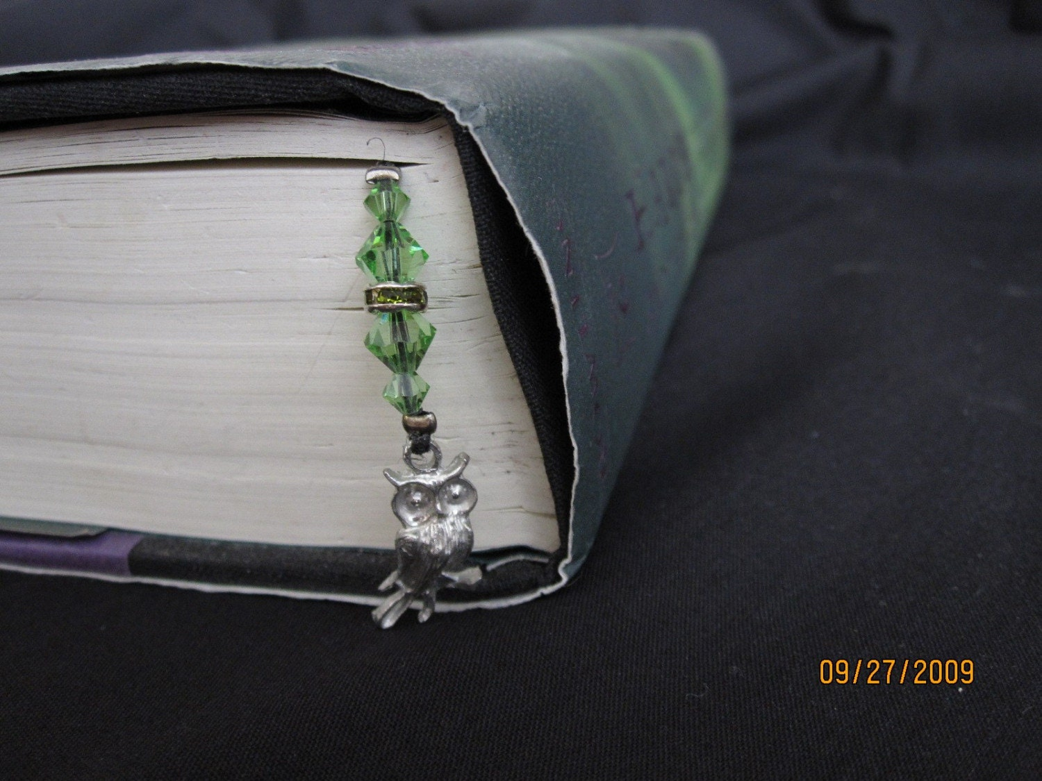 Harry Potter Bookmark-Owl and star with crystal (green)
