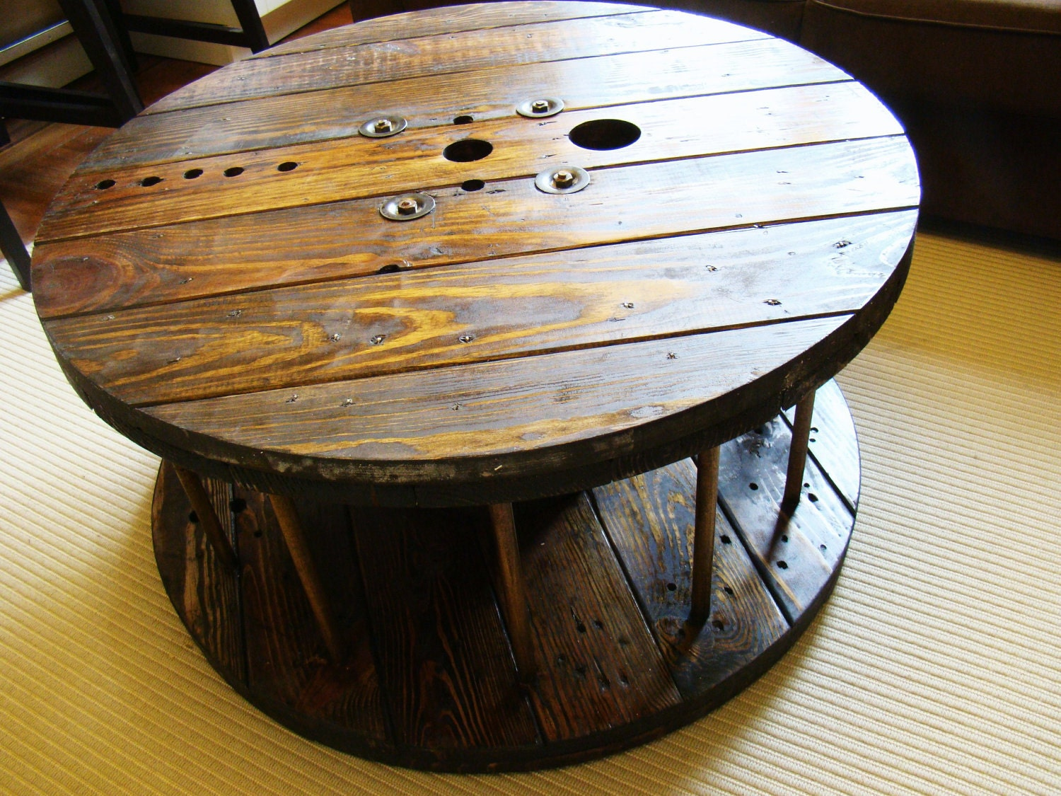 Industrial spool coffee table by repurposedgems on etsy for Wooden cable reel ideas