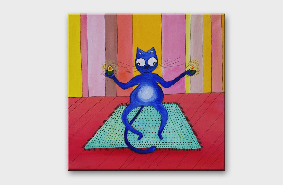 ORIGINAL Blue Cat painting on canvas Meditation Yoga Pastel colors art Crazy kitty Small painting Home decor Nursery room decoration 12x12 - AstaArtwork