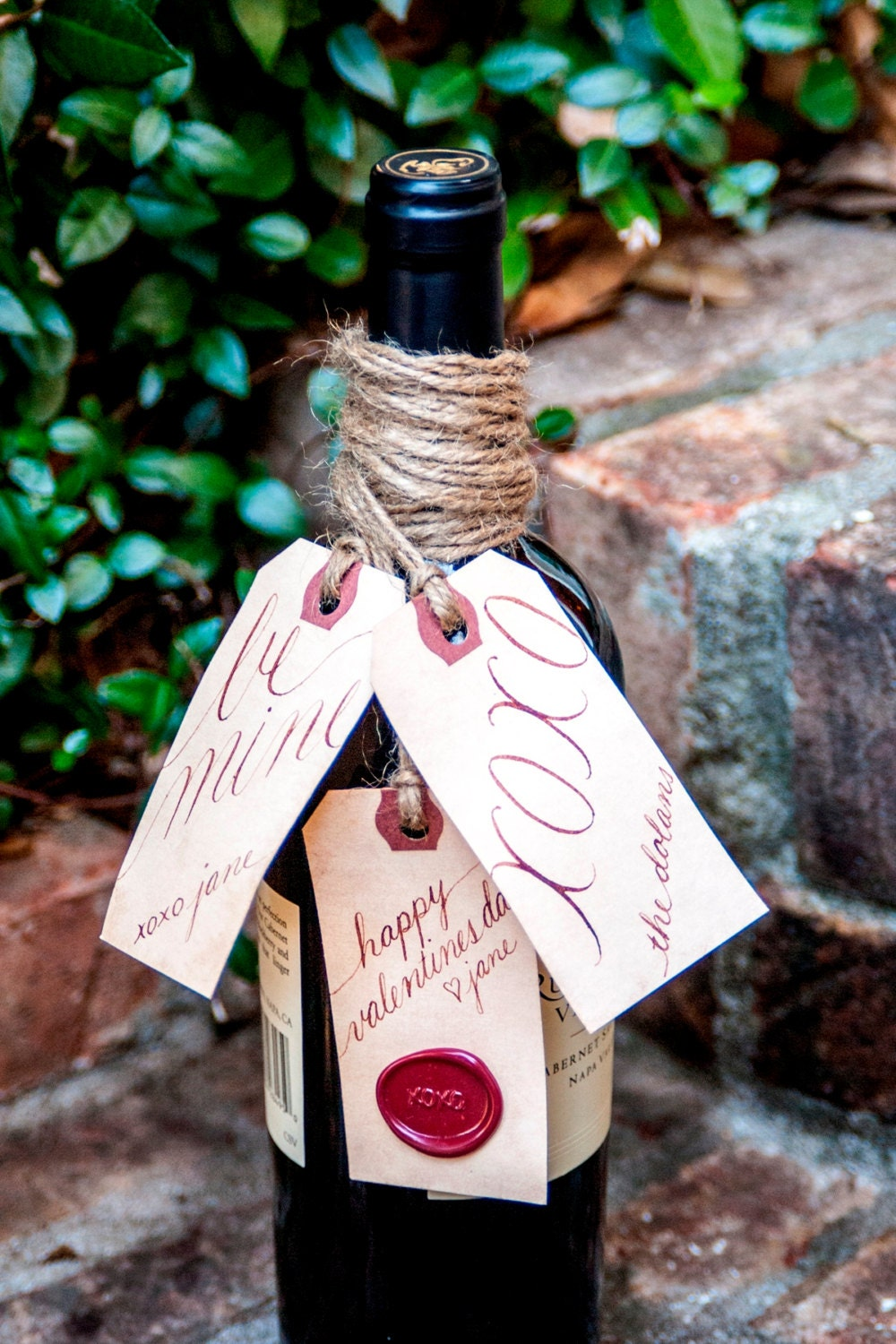 Valentine's Day Wine and Gift Tags (3) - Personalized Hand Calligraphy   Custom Gift Labels - X0X0 Wax Seal /Stained /Vintage Inspired