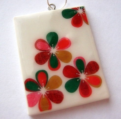 Digital Flower Print Wearable Art Pendant by Jenn Ski