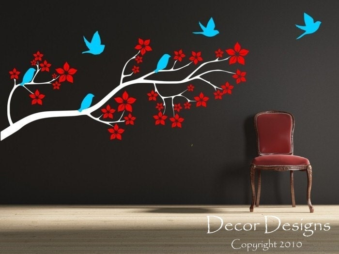Birds on a Blossom Branch Wall Decal