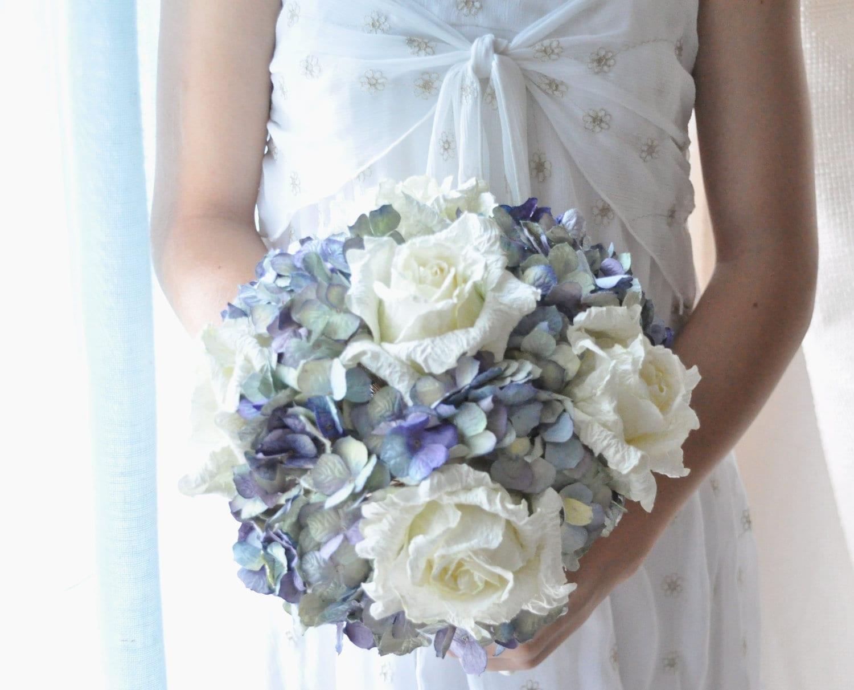 Something Blue paper bouquet wedding flowers, ocean blue paper wedding bouquet, soft blue paper flowers - AlternativeBlooms