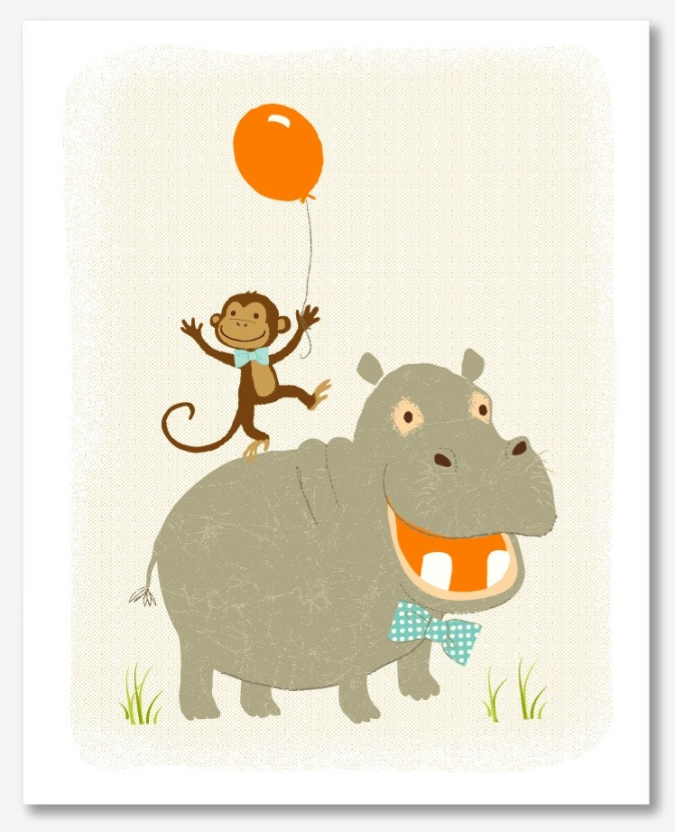 Monkey and Hippo (8x10)