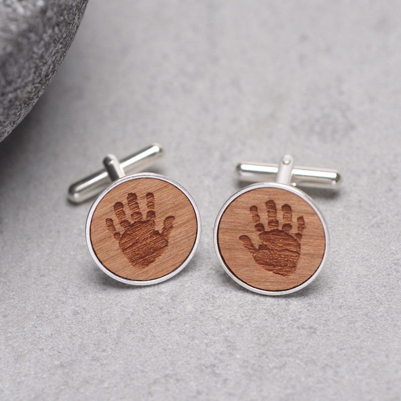 Handprint Cufflinks Child Handprint Cufflinks Baby Hanprint Personalized Cufflinks New Dad Gift New Baby Gift