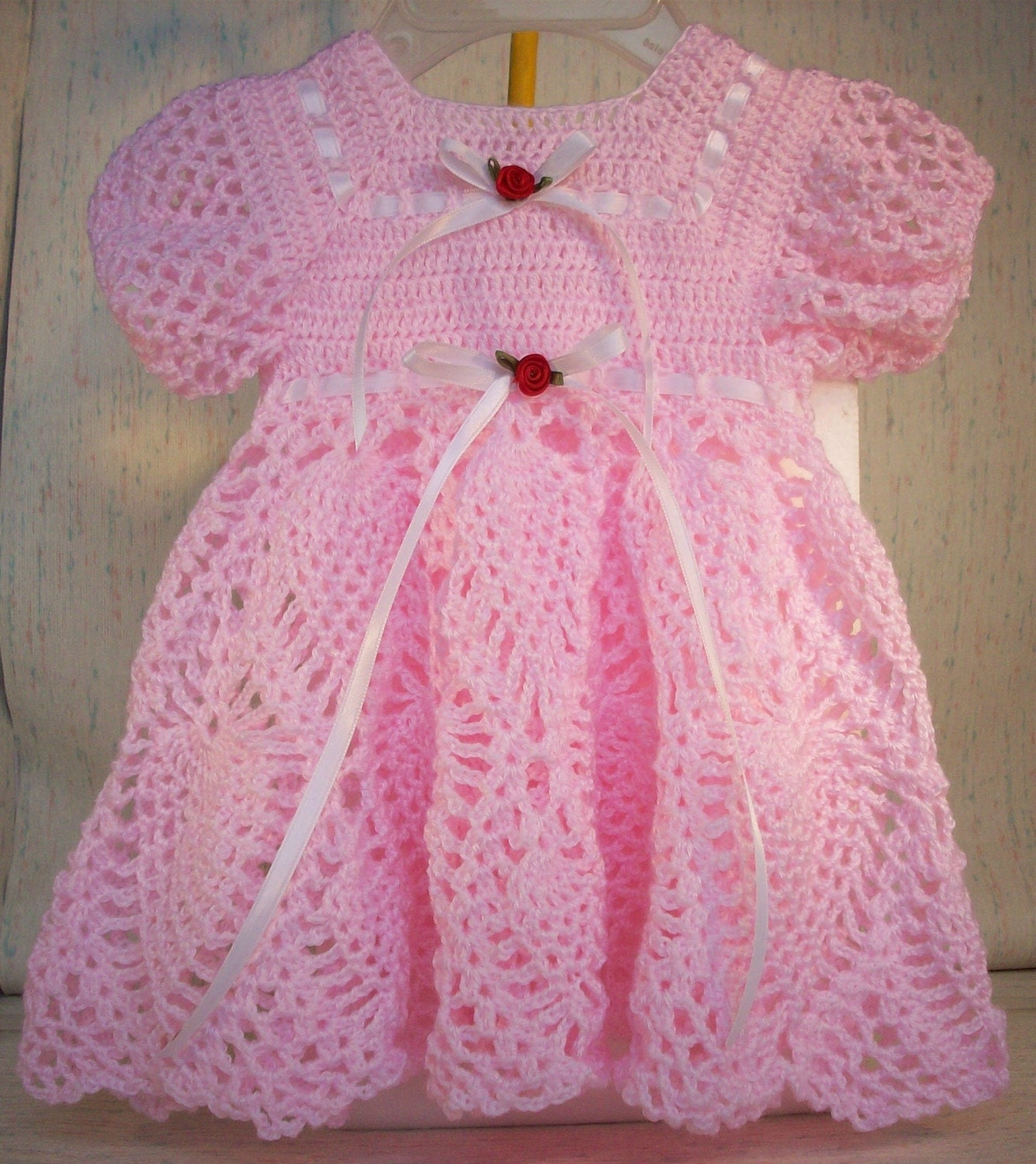 Heirloom Crocheted Baby Dress with Pineapple by