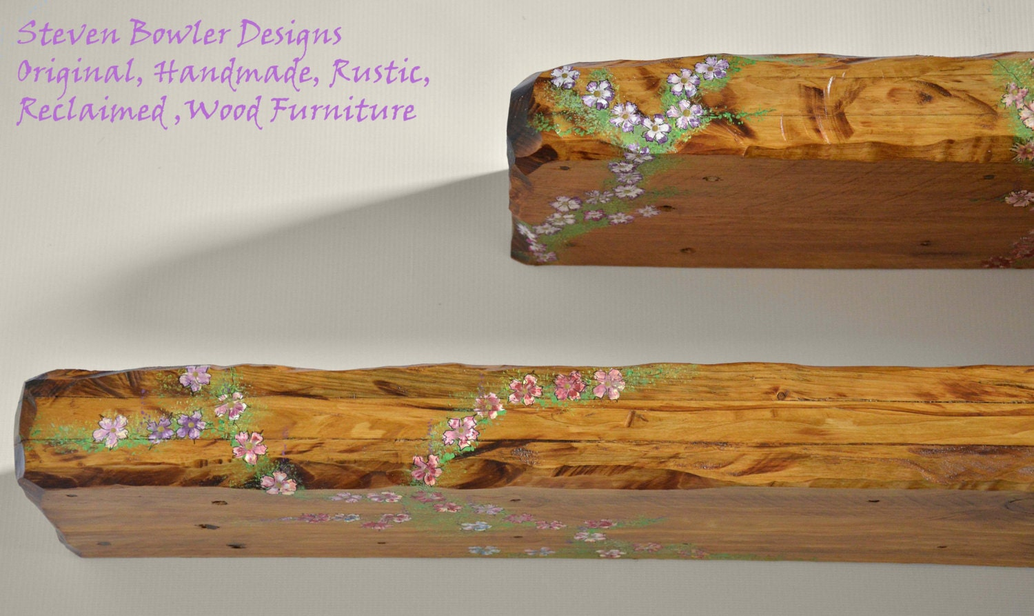 Bespoke Country Cottage Rustic Reclaimed Wood Floating Shelf in Warm Light Oak Stain with Decorative Flower Design Fixings Supplied