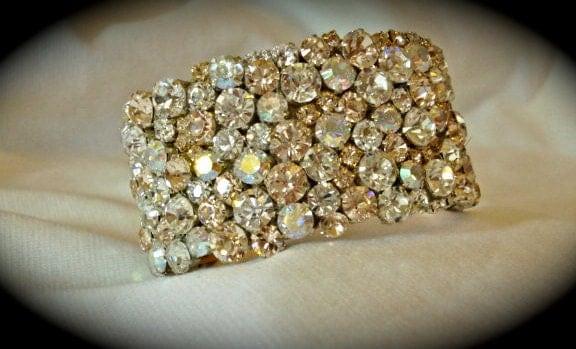 Champagne Rose Gold Swarovski Rhinestone Cuff, rose gold cuff bracelet, bridal bracelet,  crystal rhinestone bridal bracelet