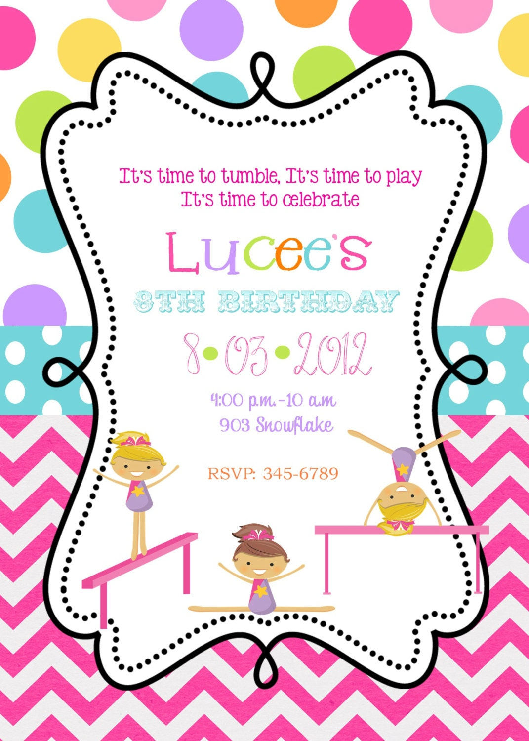 Gymnastic Party Invites for luxury invitations example