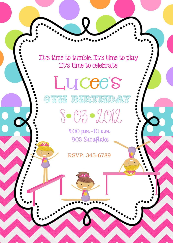 Gymnastics Birthday Party invitations printable or by ...