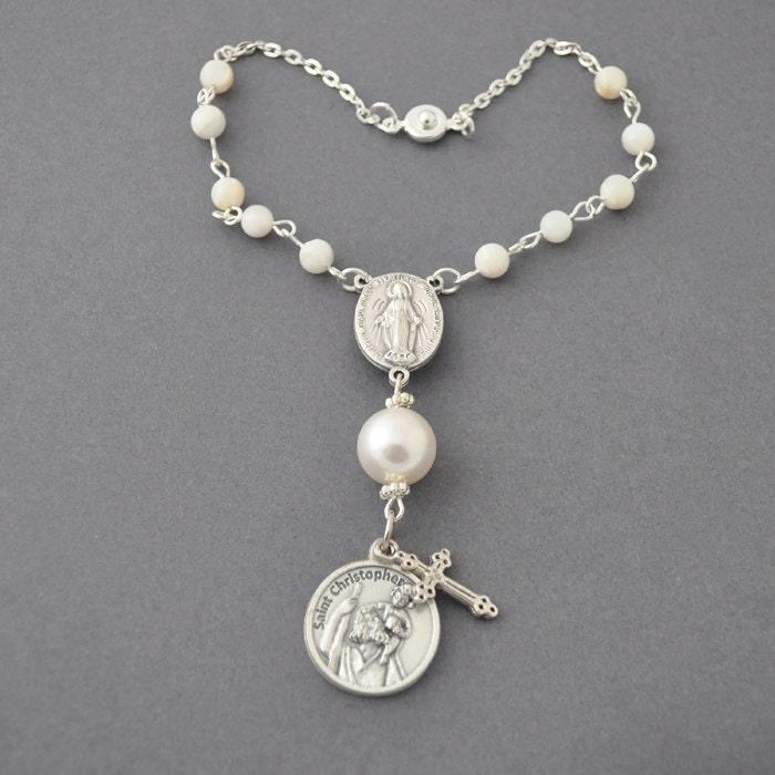 Religious rosary beads auto rosary swarovski pearl easy to hang