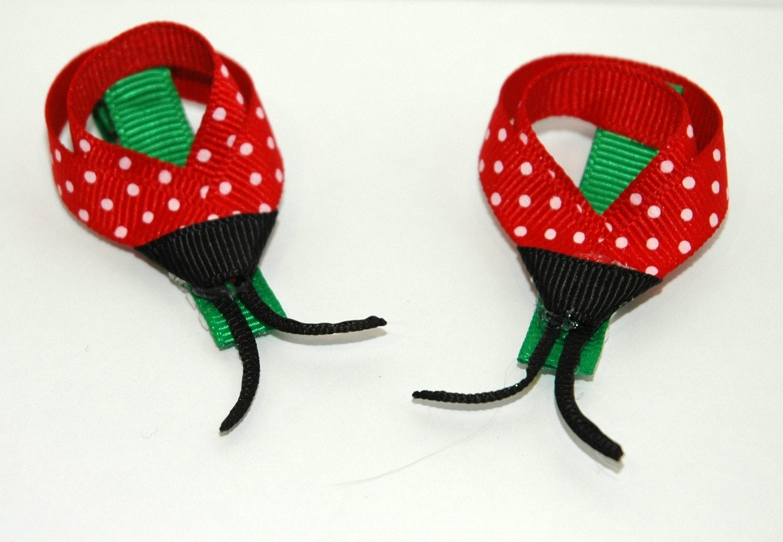 Ladybug Ladybug -  Pair of Darling Ladybug Hair Clips