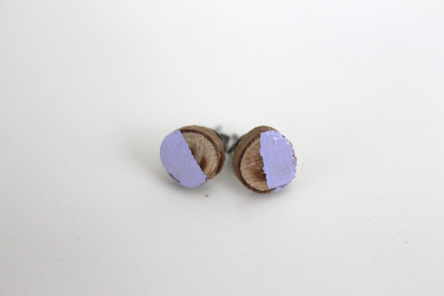 Lavender Painted Natural Wood Earrings