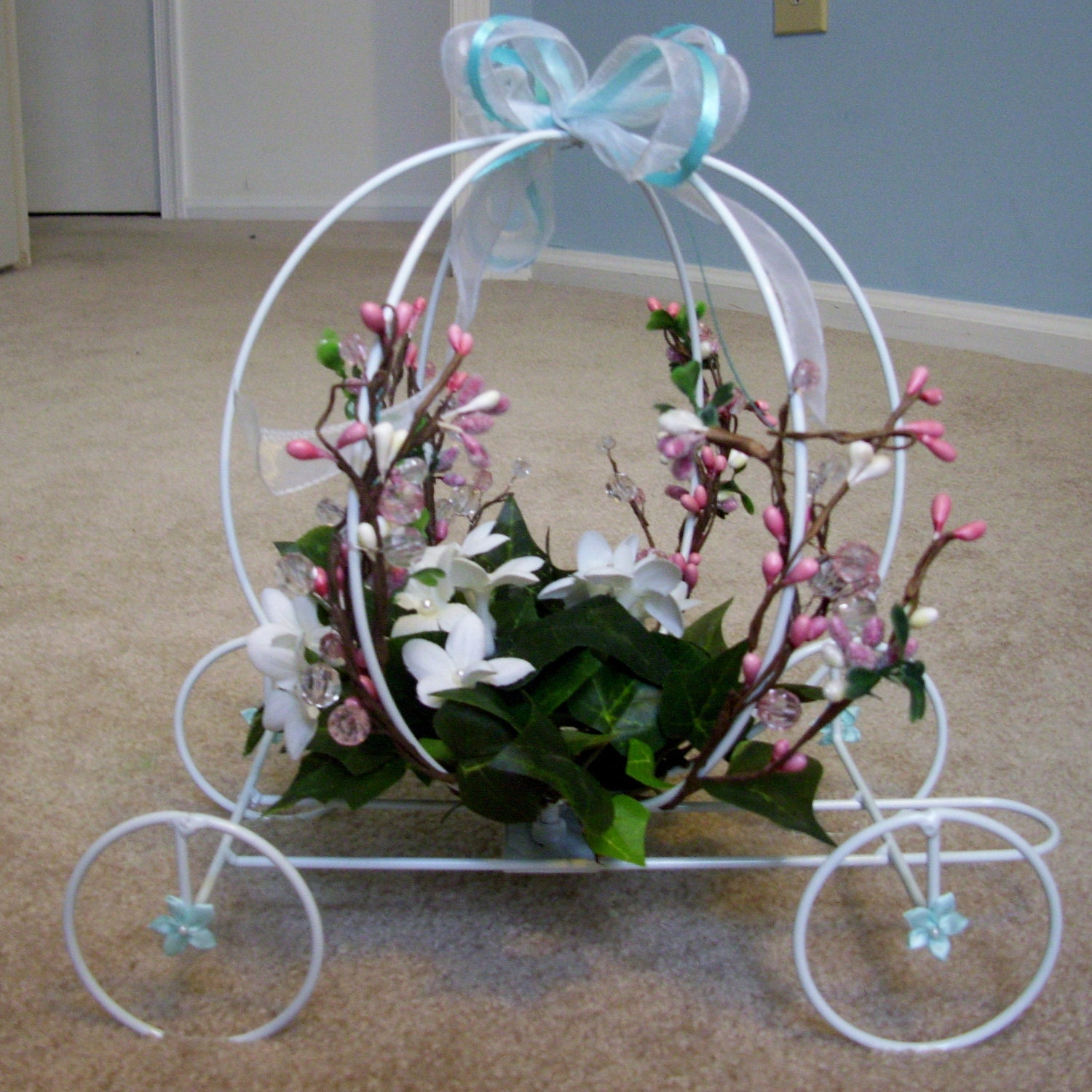 Hand decorated wedding or baby carriage by beehappyhandmade for Baby carriage decoration