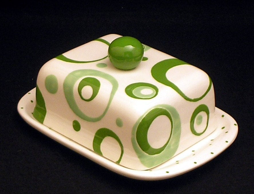 Circle Green and Light Green Knobbed Double Butter Dish