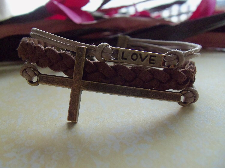Sideways Cross Bracelet Leather Sideways Cross Love Bracelet |