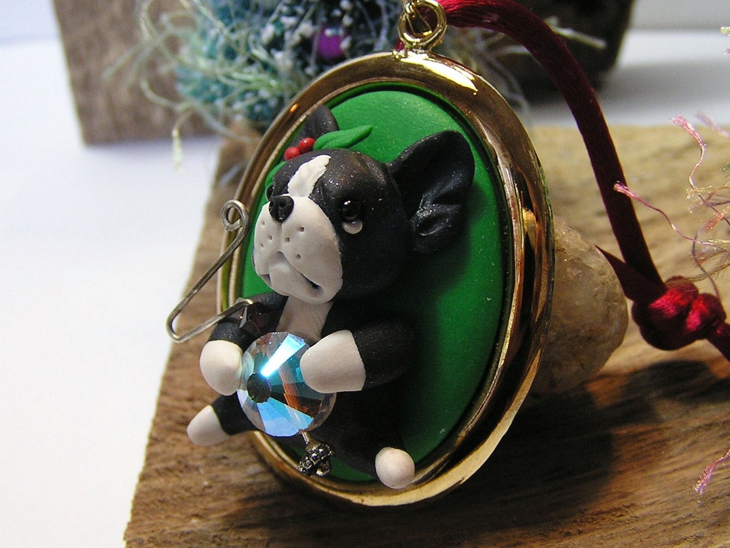 Boston Terrier Polymer Clay Dog Christmas Ornament by nanjodogz