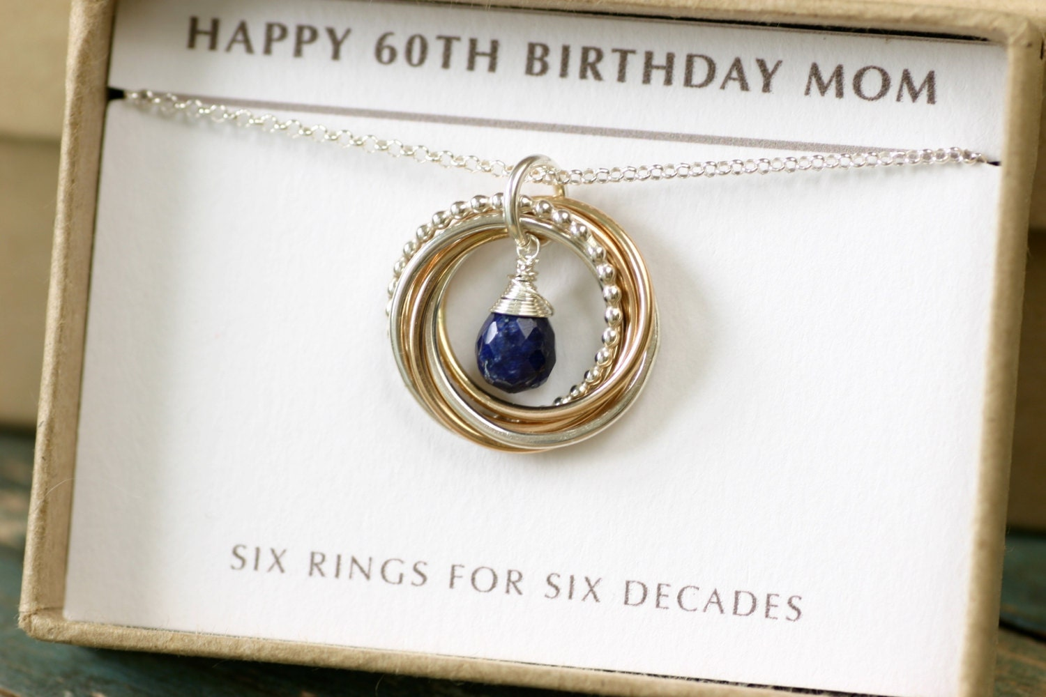 60th birthday gift blue sapphire necklace gold September birthstone necklace gift for grandmother necklace  Lilia