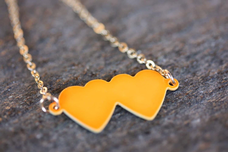 Neon Double Heart Charm Necklace - Orange, Green, or Yellow - diamentdesigns