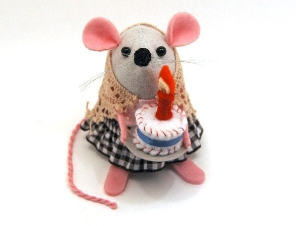FREE SHIPPING - Happy Birthday Mouse - cute felt woodland forest stocking stuffer mouse ornament by TheHouseofMouse - perfect gift for animal lovers or collectors of mice, rats and other rodents