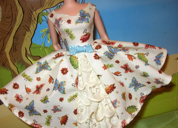 Barbie Retro vintage Style OOAK Garden Party  Butterfly Dress for Silkstone Dolls