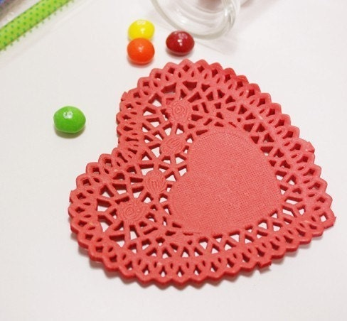 4inch Heart shaped Red Paper Doily (30 sheet)