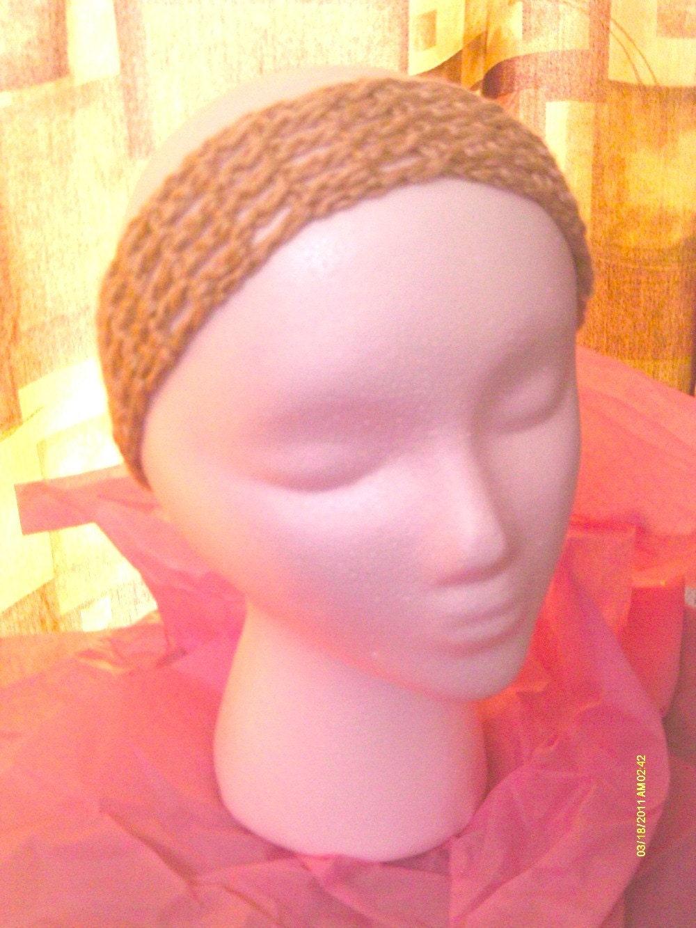 Buy ONE Get ONE Free SALE - Wide Hand Crochet Dreadband / Headband - Tan