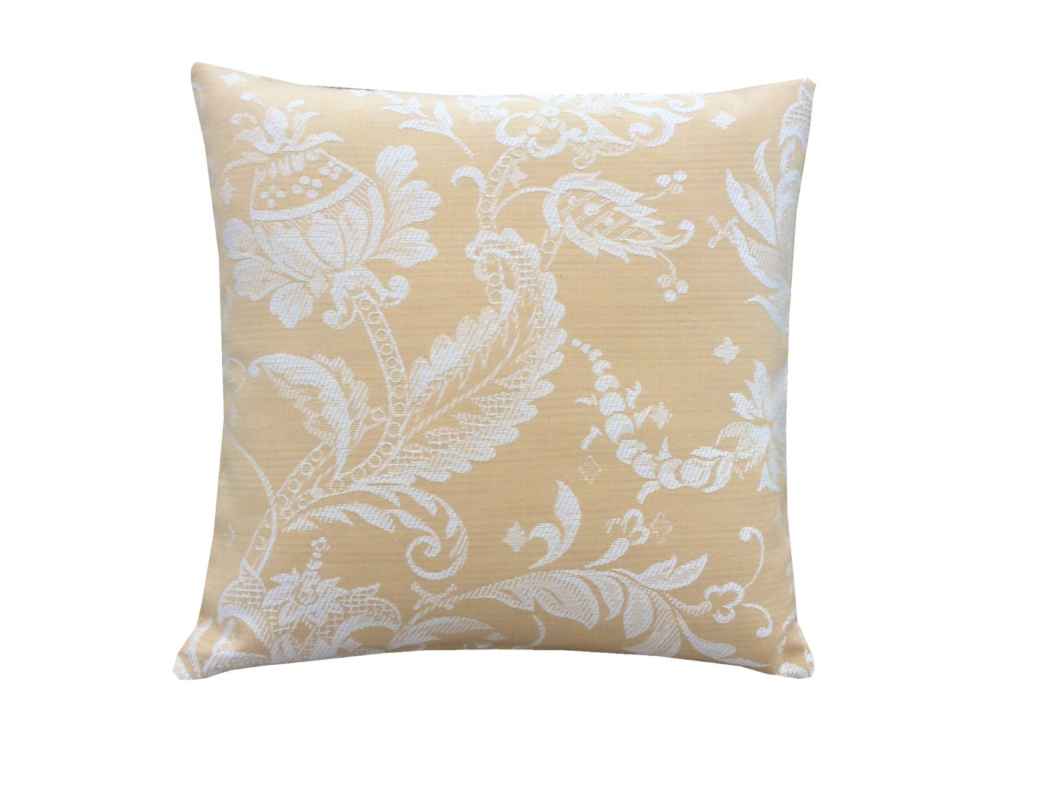 Stunning hand made in the UK cushion cover Pillow case Laura Ashley fabric cream ivory yellow gold mustard colour Home bedroom sofa lounge