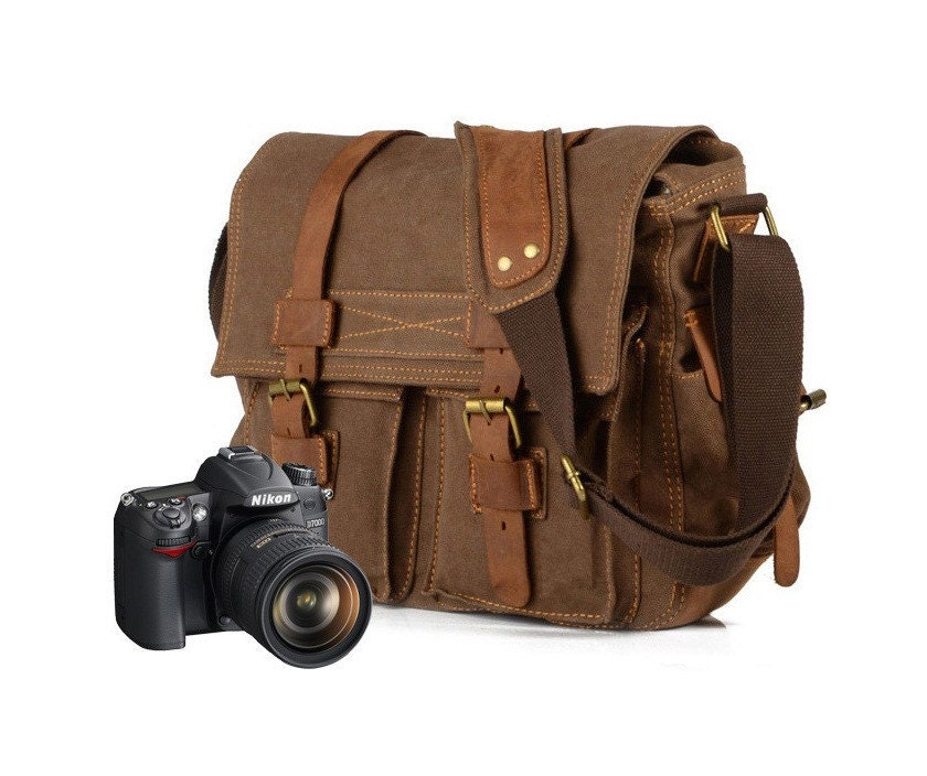 Leather Canvas Messenger Bag/Camera Bag with Medium DSLR Camera Bag Insert/Leather canvas Shoulder Bag/Laptop Bag/Ipad Bag/School Bag/Bags