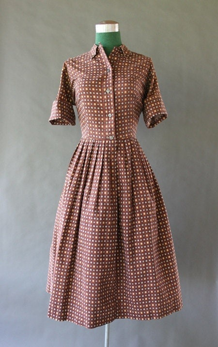 Vintage 50s Dress - 1950s Printed Cotton Day Dress