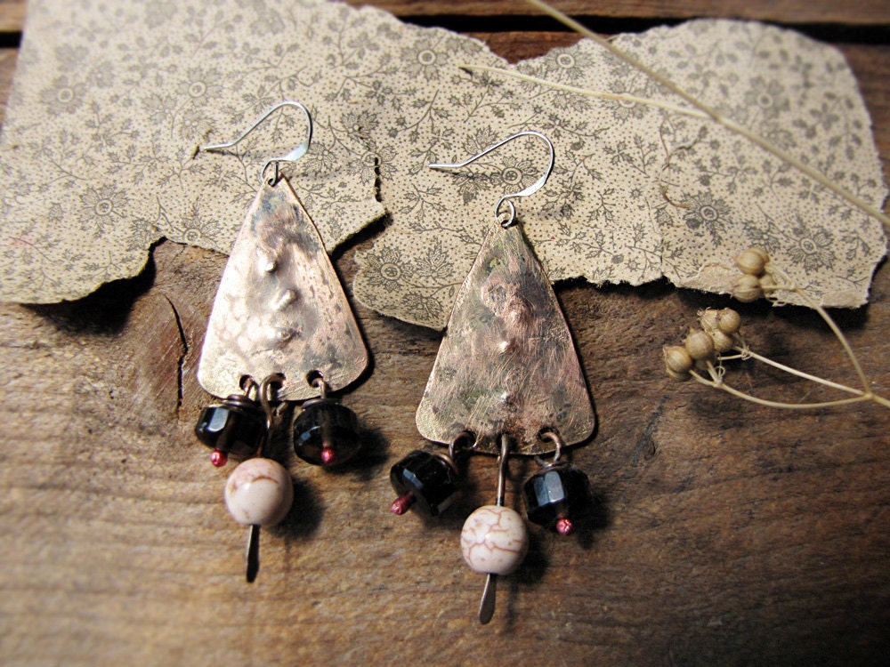 Cave Sister - artisan earrings - hammered metal - smoky quartz - primitive modern