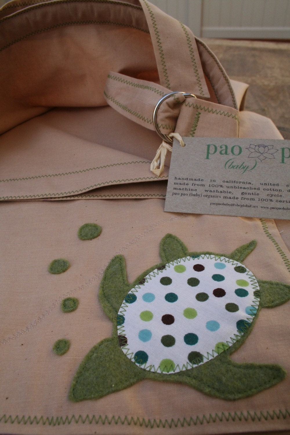 tea stained natural cotton nursing cover (by pao pao baby) sea turtle