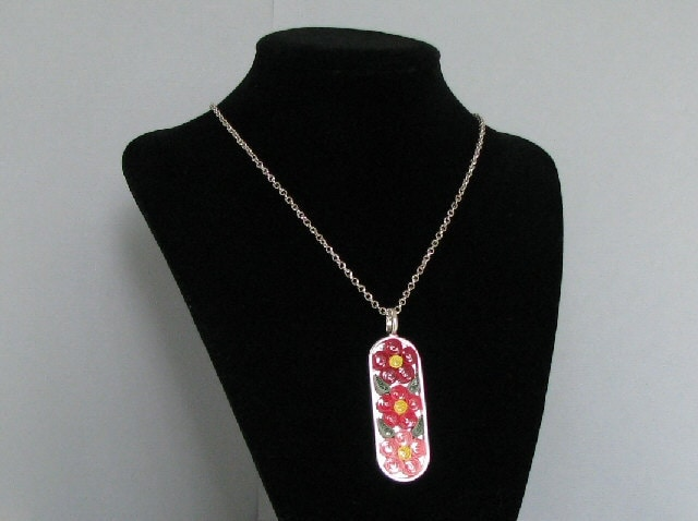 Quilled Pink Flowers Necklace