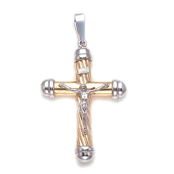 crucifix cross pendant necklace in 14k two tone gold by