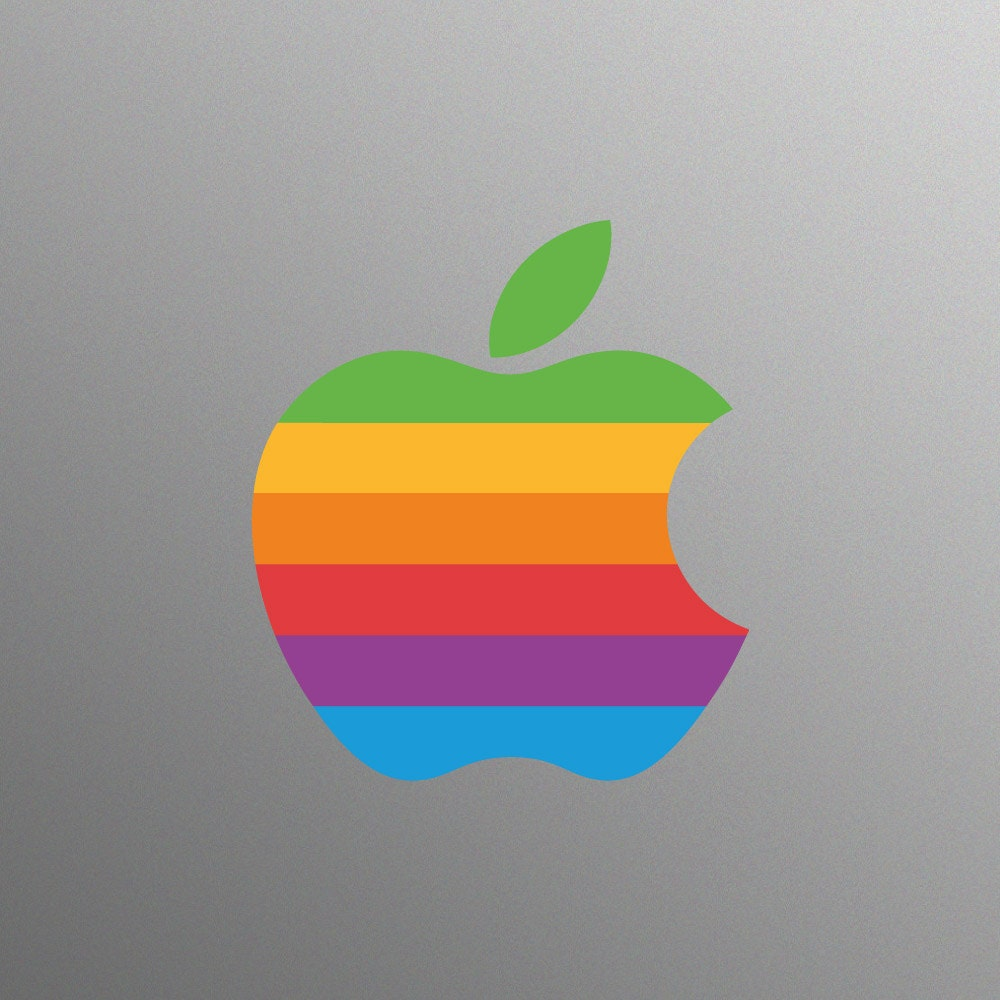 Retro Apple Logo Decal Sticker for Apple iMac Computer